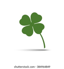 Four leaf clover vector icon. Green four leaf clover illustration with shadow. Four leaf clover isolated illustration for Saint Patrick's Day.