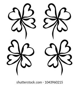 Four Leaf Green Clover. Luck, Success Symbol. Good Luck. Irish Luch. Saint Patricks Day Ireland Vector Illustration Hand Drawn.