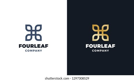 Four leaves Logotype template, positive and negative variant, corporate identity for brands, exclusive product logo, gold texture, vector design