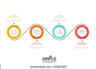 Four lettered circular elements with pictograms inside and arrows pointing at text boxes connected by curved line. Modern infographic design template. Vector illustration for web banner, brochure.