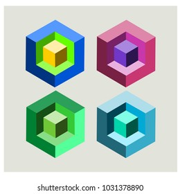 Four lie 3 dimensional square on a white background.Used in printing and web.impossible