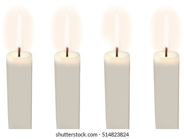 Four Lighted Advent Candles with white background