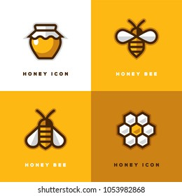 Four linear honey logo with bee symbol, jar icon and honeycomb in a shape of flower.