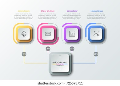 Four linear pictograms inside colorful squares connected with main element by lines with percentage indication. Flowchart. Creative vector illustration for presentation, statistical report, brochure.