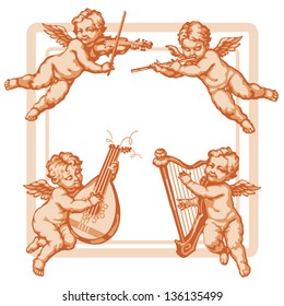 Four little angels with musical instruments. In three colors on a white background. Corner units vignettes