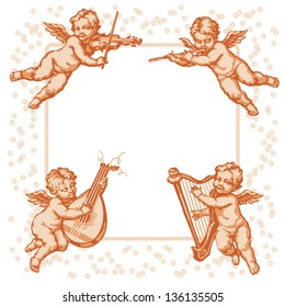 Four little angels with musical instruments. Vignette on a white background.