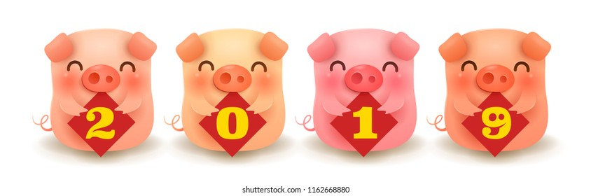 Four little pigs with 2019 sign. Chinese New Year. The year of the pig.
