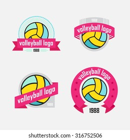 Four logo with a volleybal ball and ribbon