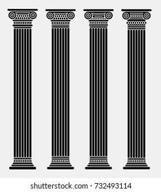Four long roman and greek stylized classic columns. Black. Antique. Vector illustration. Doric. Isolated. On gray background
