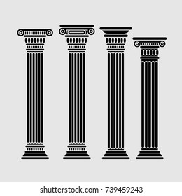 Four long roman and greek stylized classic columns. Ancient. Black color. Vector illustration, isolated.