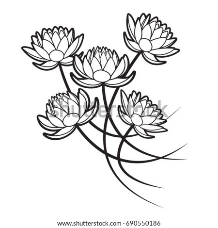 Four Lotus Flowers Black Outlinevector Drawing Stock Vector Royalty