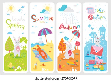 Four lovely seasonal banners with cute rabbit and inspirational text in vector for stickers, bookmarks and different kinds of childish accessories. Vertical orientation. Spring, summer, autumn, winter