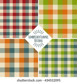 four lumberjack plaid and buffalo checkered patterns set; red, blue, beige, orange, green plaid, trendy hipster style backgrounds; vector illustration