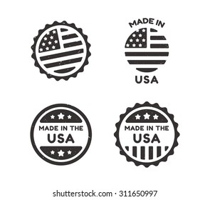 Four Made in USA vintage labels with distressed texture. Isolated on white background.