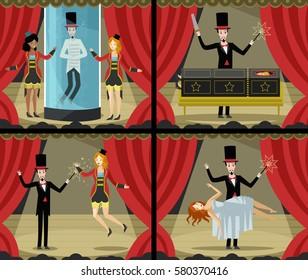 four magic acts scenes magician tricks