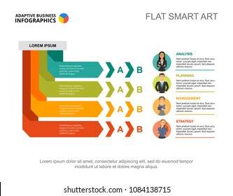 Four managers process chart template for presentation. Business data visualization. Success, strategy, management, recruitment or marketing creative concept for infographic, report, project layout.