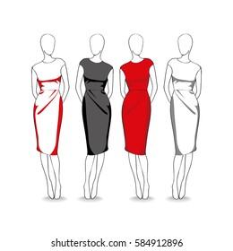 Four mannequins dresses. Vector illustration.