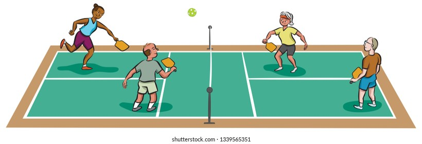 Four mature adults play pickleball.