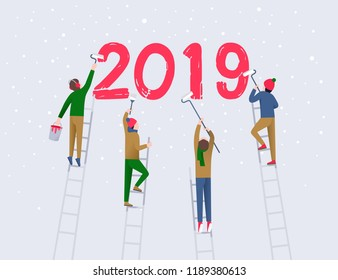Four men on the ladders are holding roll brushes and bucket with red paint and writing the number 2019 on a white wall. Holidays seasons, new year coming concept. Flat illustration.