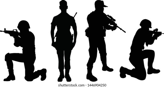 Four military silhouettes vector black Style.