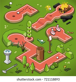Four mini golf lanes in isometric view, including formal garden, picnic ants, campfire and pair of shoes (vector illustration)