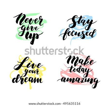 Simple Inspirational Quotes Four Motivational Inspirational Quotes Modern Calligraphy Stock  Simple Inspirational Quotes