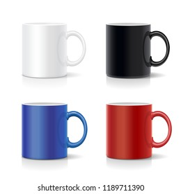 Four mugs of various colors. Coffee cups coolection vector