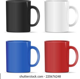 Four mugs of various colors. Vector eps10