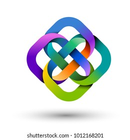 Four multicolored intertwined shapes, group concept for logo design, eps10 vector