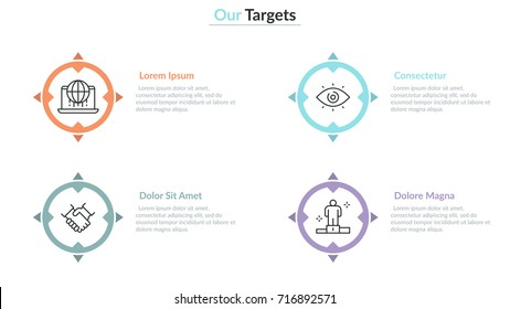 Four multicolored separate shooting aims or targets with thin line symbols inside them and text boxes. Concept of 4 main goals to achieve. Creative infographic design layout. Vector illustration.