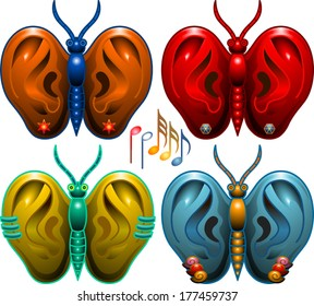 Four musical butterflies with ears instead of wings