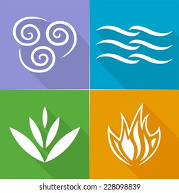 Four Natural Elements  Earth, Water, Air and Fire with long shadow