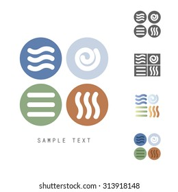 Four Natural Elements vector icons set - Earth, Water, Air and Fire