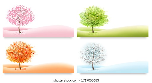 Four Nature Backgrounds with stylized trees representing different seasons. Vector.