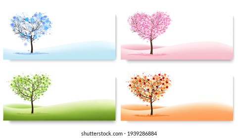 Four Nature Backgrounds with stylized trees representing different seasons - winter, spring, summer, autumn. Vector.