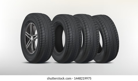 Four new good-looking snow tires isolated on the white background. A set of winter and summer car tires. Tyre packages. Wheel parts. Tire service. Realistic vector tires set. Car wheel with alloy rims