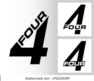 Four; numeral and word logo for number. Four letter with four figure logo design. Number and name typography.  Text logo studies for all numbers.