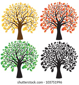 Four oak with yellow, red and green foliage. Ebony. Vector