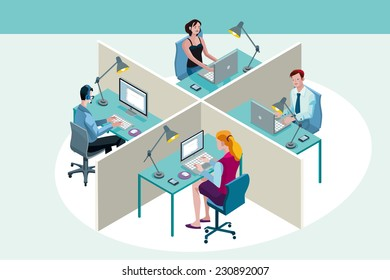 Four office workers in a office, working sitting at their desks, with their laptop ad computer. Isometric perspective.