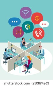 Four office Workers Working Sitting in a office with Speech Bubbles. Isometric perspective.
