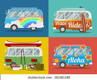 Four old hippie vans with different paints and for different activities. EPS10 vector illustration.