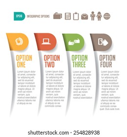 Four options infographic design EPS 10 vector royalty free stock illustration for meetings, ad, promotion, poster, flier, blog, article, slideshow, presentation, web page