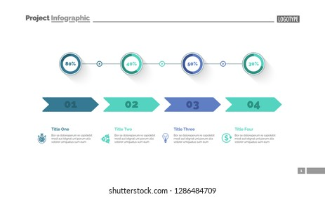 Four options percentage chart slide template. Business data. Comparison, diagram, design. Creative concept for infographic, presentation. Can be used for topics like marketing, economics, production.