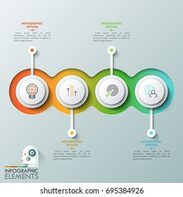 Four overlapping translucent round elements with linear pictograms inside placed in horizontal line and text boxes. Concept of 4 successive steps to project completion. Vector illustration for report.