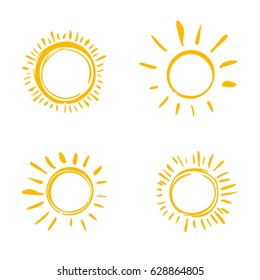 Four painted suns. Vector solar symbols set.