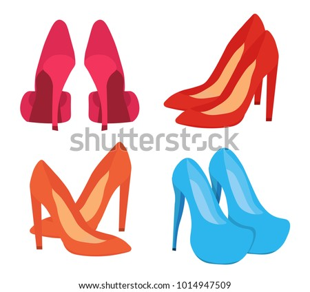 6d36c09368 Four pairs of high-heeled shoes. Beautiful fashionable women s shoes.  Spring and summer