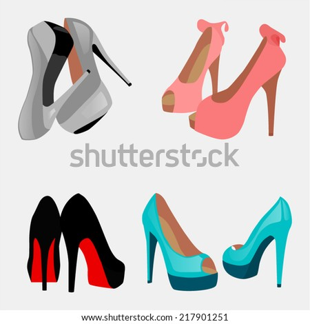 d054dc4bcf Four Pairs Shoes On Gray Background Stock Vector (Royalty Free ...