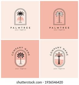 Four palm tree vector logo, emblem set. Tropical nature, paradise symbol.
