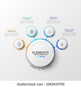 Four paper white circular elements with thin line symbols inside and arrows pointing at central circle. Concept of 4 features of business process. Infographic design template. Vector illustration.