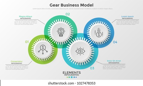 Four paper white gear wheels with thin line pictograms inside and place for text. Concept of coordinated work or business activity. Infographic design template. Vector illustration for presentation.